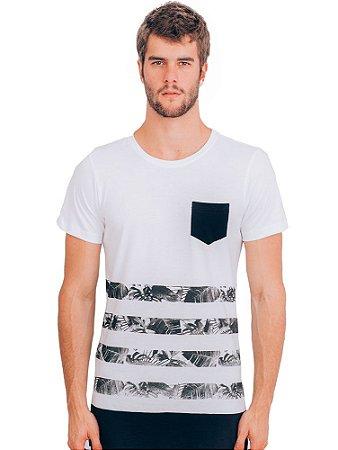 Camiseta Long Listras Floral