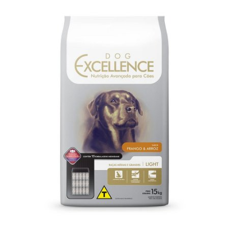 DOG EXCELLENCE LIGHT RAÇA MEDIAS E GRANDES 15 Kg