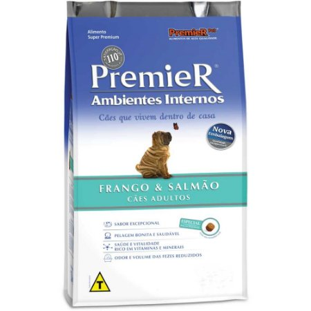 PREMIER AMBIENTE INTERNO ADULTO FRANGO SALMÃO 1KG
