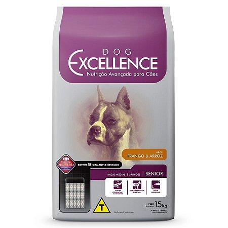 Dog Excellence Cães Idosos R. Médias e Grandes Frango e Arroz 15KG