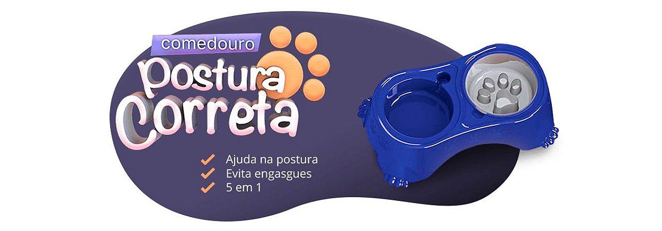 COMEDOURO POSTURA CORRETA PEQUENA MEDIA AZUL
