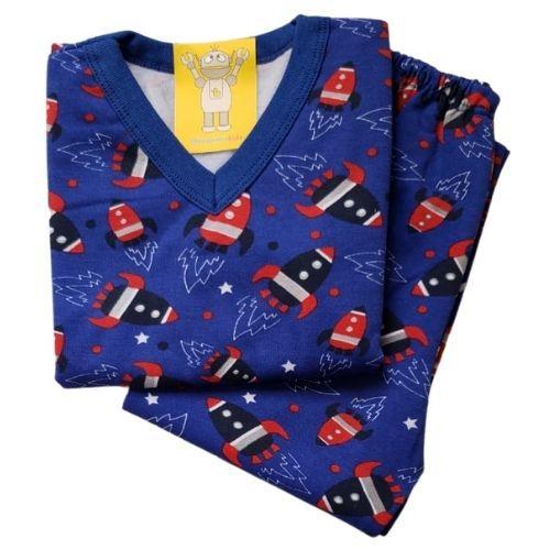 Pijama Infantil Flanelado - 1 ao 3 - Foguete Azul