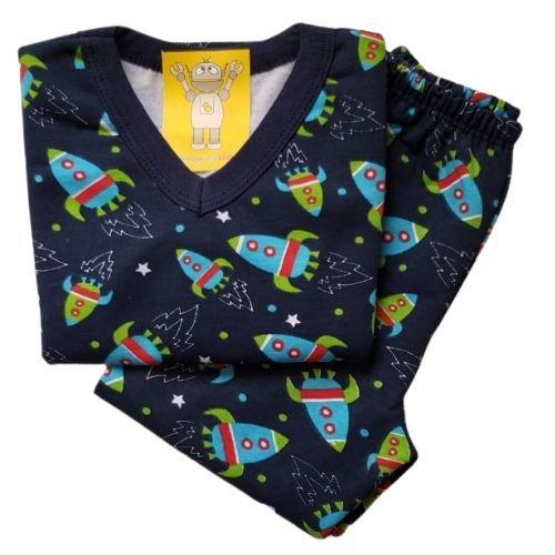 Pijama Infantil Flanelado - 4 ao 8 - Foguete