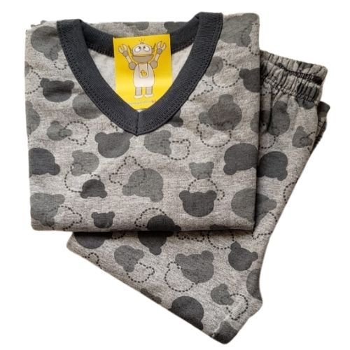 Pijama Infantil Flanelado - 4 ao 8 - Ursinho Cinza