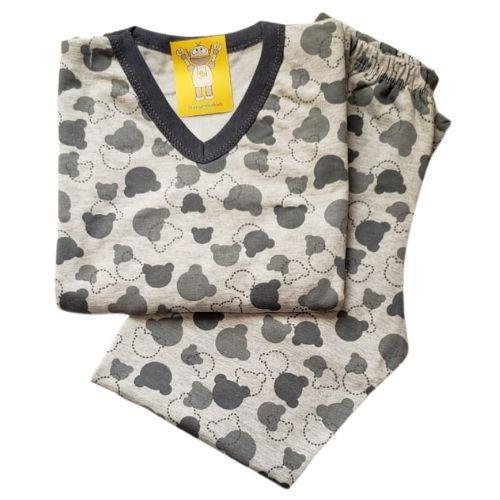 Pijama Infantil Flanelado - 4 ao 8 - Ursinho Mescla