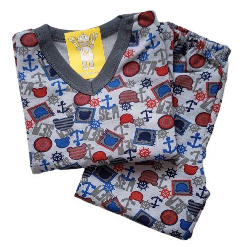 Pijama Infantil Flanelado - 4 ao 8 - Ursinho Marinheiro