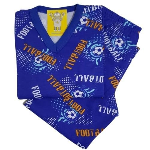 Pijama Infantil Flanelado - 4 ao 8 - Football Royal