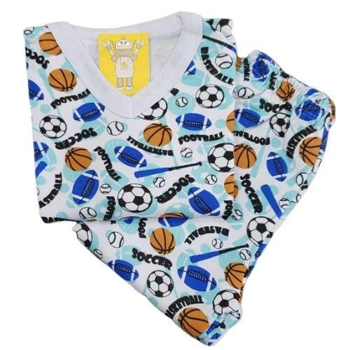 Pijama Infantil Flanelado - 1 ao 3 - Esportes Azul