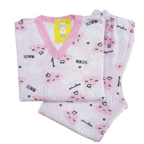 Pijama Infantil Flanelado - 4 ao 8 - Nuvens Candy