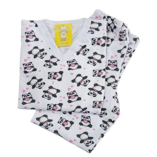 Pijama Infantil Flanelado - 4 ao 8 - Panda Branco