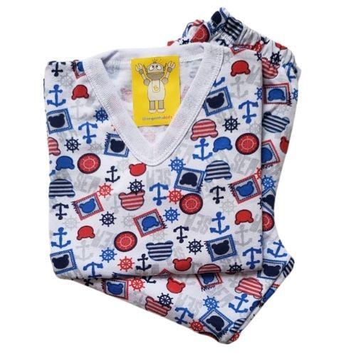 Pijama Infantil Flanelado - 4 ao 8 - Ursinho ao Mar