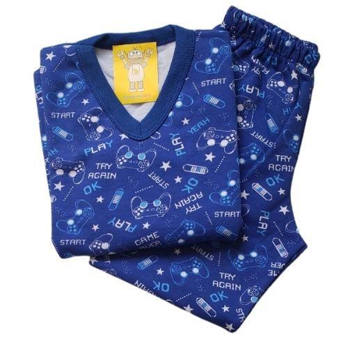 Pijama Infantil Flanelado - 4 ao 8 - Gamer Royal