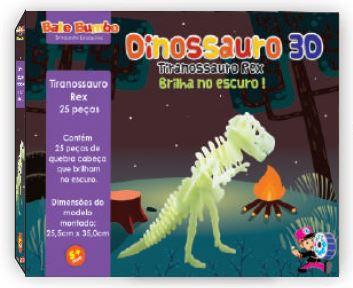 Quebra Cabeça 3D Dinossauro T Rex - Brilha no Escuro