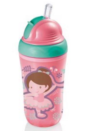 Copo térmico infantil com canudo de silicone - ROSA