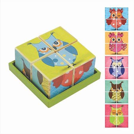 Quebra Cabeça Cubos - Coruja