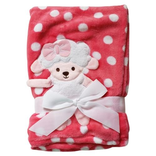 Manta cobertor para bebê - Ovelhinha Poá Pink