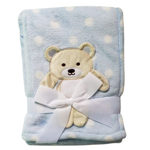 Manta cobertor para bebê - Ursinho Poá Azul