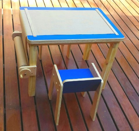 Mesa infantil multi atividades com banco - Modelo Cecy - Azul