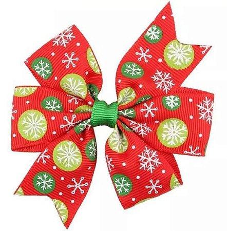 Laço - Natal Vermelho Flocos de Neve