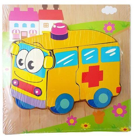Quebra Cabeça em Madeira - Ambulância