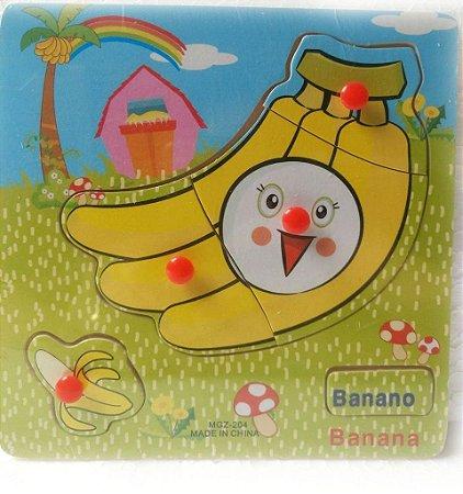 Quebra Cabeça Bilíngue em Madeira - Banana