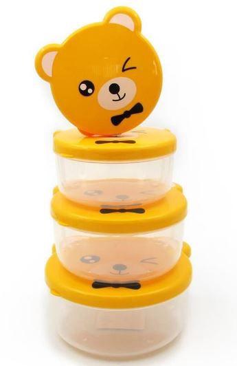 Kit com 4 potinhos para lanche - Ursinho