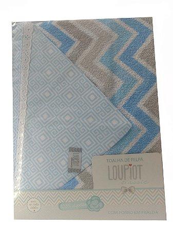 Toalha de Banho com capuz de felpa e forro em fralda - Chevron Azul
