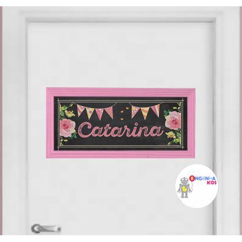 Quadro para Porta de Maternidade - Bandeirinhas Rosa
