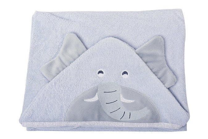 Toalha de banho com capuz forrada com fralda - Carinhas ELEFANTE