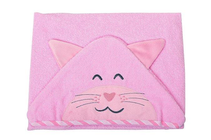 Toalha de banho com capuz forrada com fralda - Carinhas GATINHA