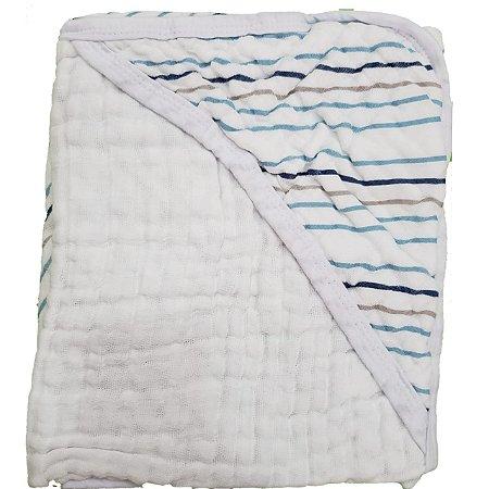 Toalha de Banho com Capuz Swaddle  - Listras Azul