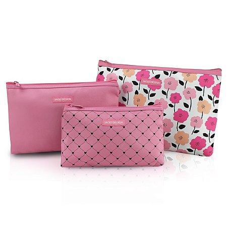 Kit de Necessaire de 3 Peças - PINK LOVER - Rosa