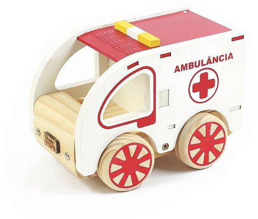 Carrinho de Madeira - Coleção Carrinhos - Ambulância