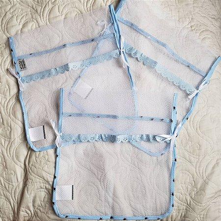 Kit com 3 saquinhos de maternidade - Reininho Encantado AZUL