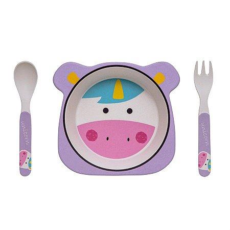 Kit Alimentação Prato e Talher Linha Eco Girotondo Baby - Unicórnio