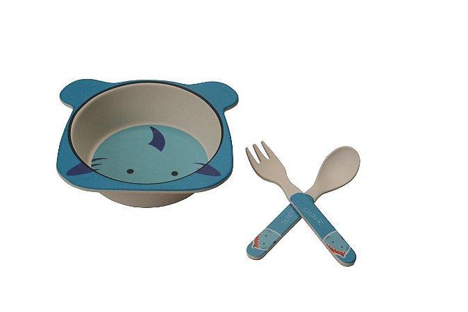 Kit Alimentação Prato e Talher Linha Eco Girotondo Baby - Tubarão