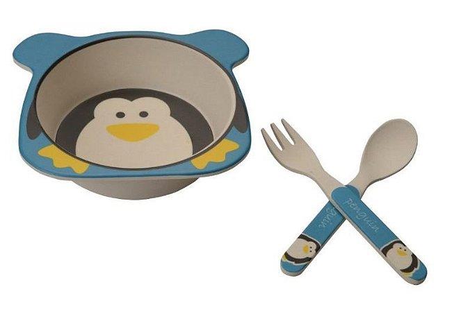 Kit Alimentação Prato e Talher Linha Eco Girotondo Baby - Pinguim