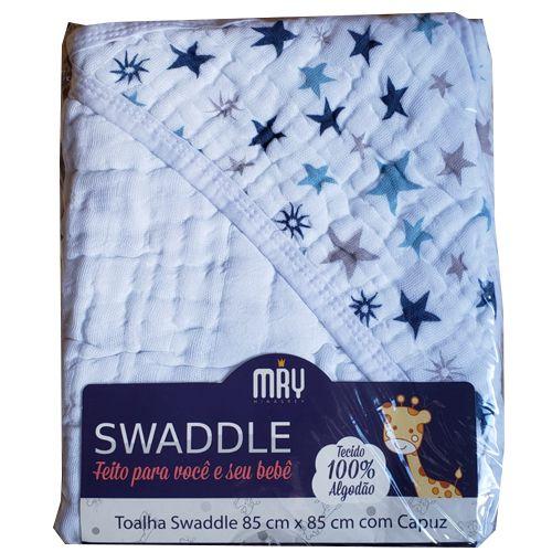 Toalha de Banho com Capuz Swaddle  - Estrelas Azul