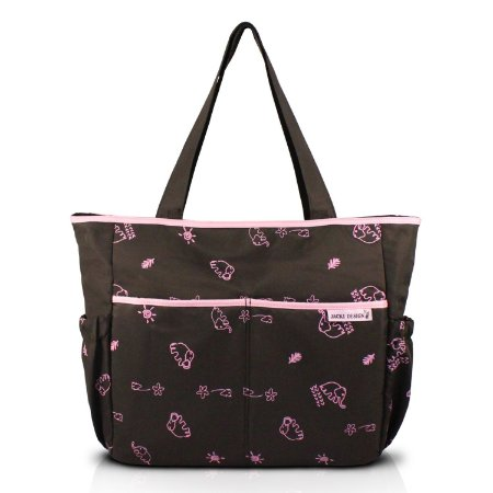 Bolsa de Bebê Estampada  MAMA & ME - Marrom/Pink