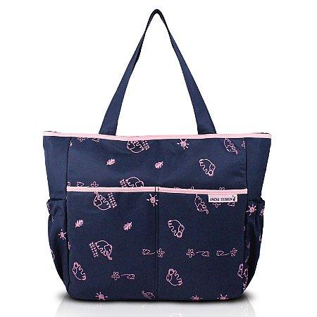 Bolsa de Bebê Estampada  MAMA & ME - Azul/Pink