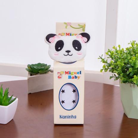Naninha de bichinhos com prendedor de chupeta - Panda Rosa