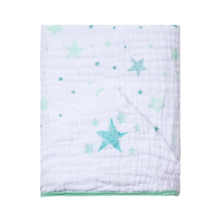 Toalha de banho de fralda com capuz bordado - Celeste Verde