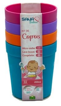 Kit com 4 copos infantil 200ml - Rosa