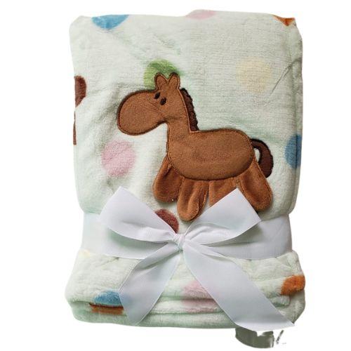 Manta cobertor para bebê - Cavalinho Poá Verde
