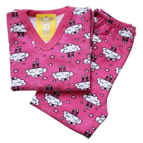Pijama Infantil Flanelado - 4 ao 8 - Nuvens Pink