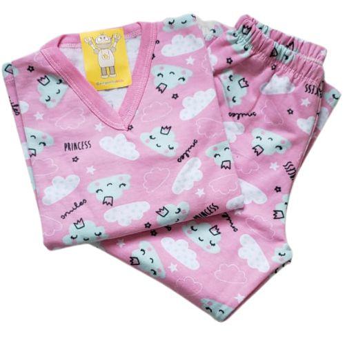 Pijama Infantil Flanelado - 4 ao 8 - Nuvens Rosa