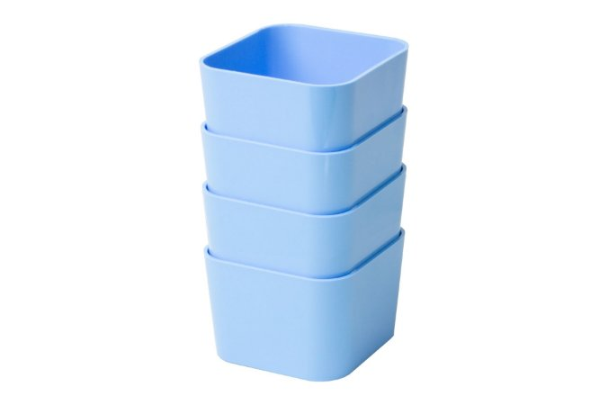 Kit com 4 organizadores porta objetos pequeno - Azul Pastel
