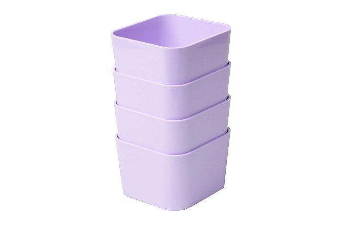 Kit com 4 organizadores porta objetos pequeno - Lilás Pastel