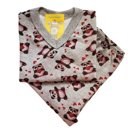 Pijama Infantil Flanelado - 4 ao 8 - Panda
