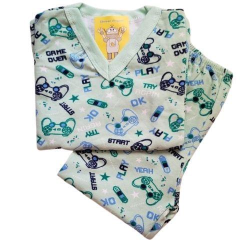 Pijama Infantil Flanelado - 1 ao 3 - Gamer Verde